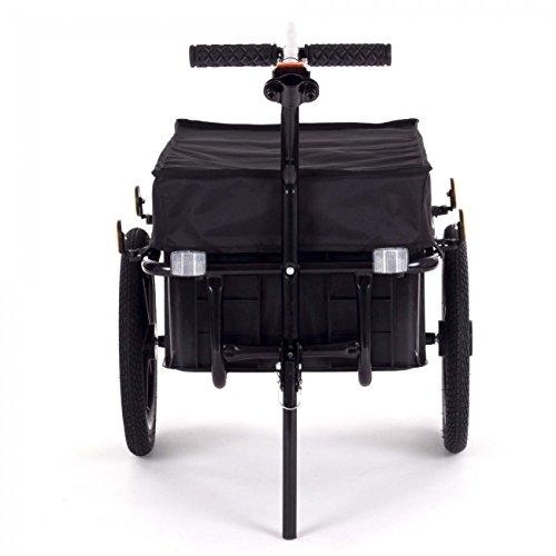 SAMAX Transportanhänger Fahrradanhänger Lastenanhänger Fahrrad Anhänger Handwagen mit Kunststoffwanne für 60 Kg / 70 Liter in Schwarz - 3