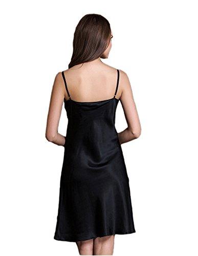silktalk Mesdames Basic pour avant 100% pure soie robe Nuit 19Momme Noir