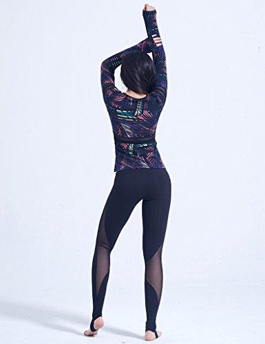 ZCJB Magliette A Maniche Lunghe Da Yoga Donna Con Imbottitura Per Il Torace Vestiti Da Yoga Filati Maglieria Istantanea A Rapida Asciugatura Maglietta Da Yoga Elastica ( Colore : A , dimensioni : L. ) A