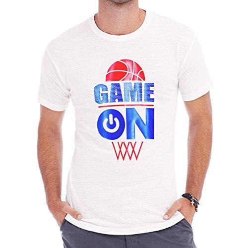 Bastball Game Turn It On Print Image Herren T-Shirt Weiß