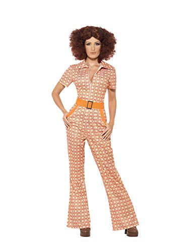Authentic 70s Chic Costume. Patterned Jumpsuit with Orange Belt. Sizes 8 to 22