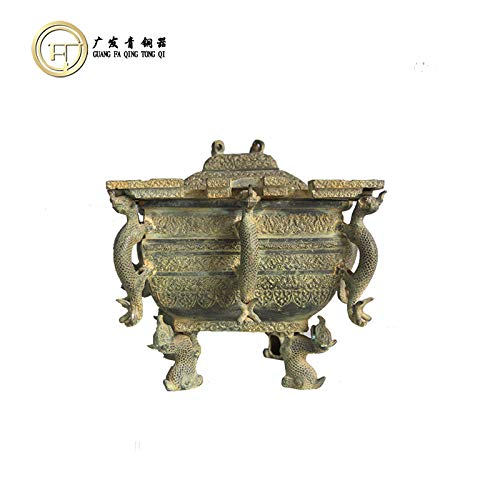 ique Ornaments Western Zhou Bingji Wine Copper Crafts Wedding Film and Television Props Collection high 30cmX29X29 ()