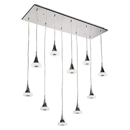 Lampada da soffitto pendente colore cromo finito forma rettangolare metallo acrilico tecno moderno urbano in stile contemporaneo per 10-bulb esclud LED 10x5W 230V - Rettangolare Pendente A Forma