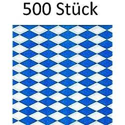 Papstar 500x serviettes/tissu Bleu bavarois 1couches, pliage en 1/4, 33x 33cm, pour Gastronomie Ou fixe, pour spezialitäten bavarois