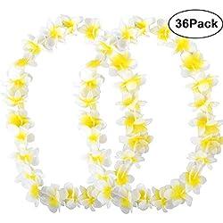 PovKeever 36 Stück Tropische Hawaiianische Blumenketten mit Rüschen Luau-Blumen-Halsketten für Strand, Party-Zubehör Gelb/Weiß