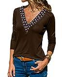 YOINS Camicette Donna Manica Lunga Maglia Pizzo Crop Magliette Scollo a V Camicia Slim Fit Sexy Bluse Maglie Donne Casuale Top Caffè-01 L