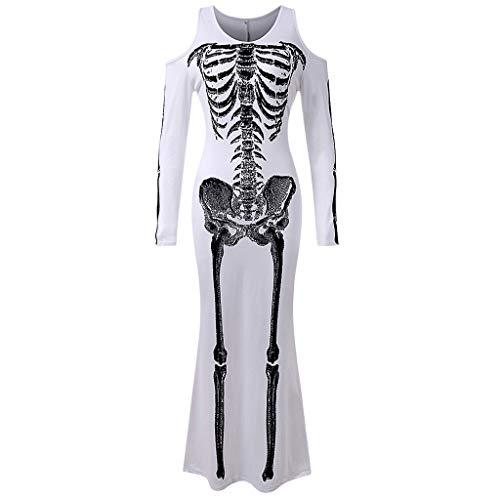 Gothic Halloween Kostüm, Damen Halloween Skelett Kostüm Frauen Cosplay Kostüm Oansatz Menschliches Skelett Print Langarm Kleid Gruselig Kostüme (Mädchen Nette 1950er Jahre Kostüm)