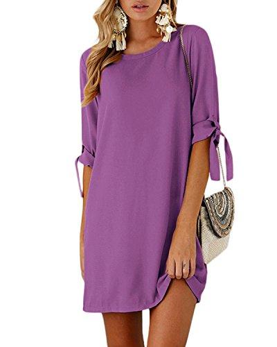 YOINS Sommerkleid Damen Tshirt Kleid Rundhals Kurzarm Minikleid Kleider Langes Shirt Lose Tunika mit Bowknot Ärmeln lila M/EU40-42