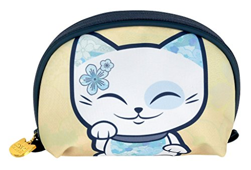 Pochette - trousse à maquillage chat porte bonheur Mani the Lucky Cat beige - bleu pétrole
