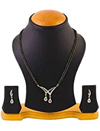KAAYRA American Diamond Gold Plated Mangalsutra With Chain And Earring For Women