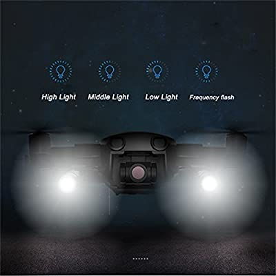 Crazepony-UK DJI Mavic Air Accessories LED Light Kit Small Flashlight, Long-Range Luminosity Adjustable Light for Mavic Air Drone Fill Flash,Night Cruise,Night Searching,Flash Warning,Direction Guide
