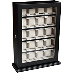 Elegante Uhrenbox für die Wandmontage für 20 Uhren in Schwarz