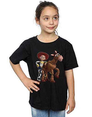 Disney Mädchen Toy Story 4 Jessie and Bullseye T-Shirt Schwarz 7-8 Years