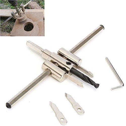origlam verstellbar 40mm-200mm Lochsäge Kreis Lochschneider, Holz Cutter Bohrer Bits Set, schwere Pflicht Kreis Cutter Set mit Holz Metall Lochsäge Bohrer Werkzeug für Holz