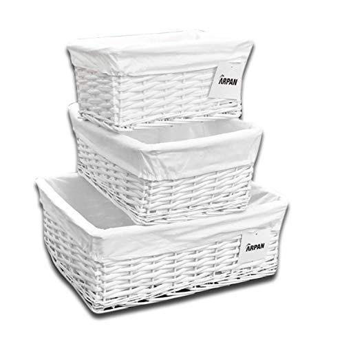 Arpan cesto, come mostrato in vimini bianco, large, medium, small