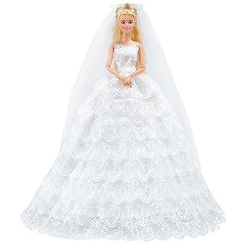 E-TING princesse poupée mariage robe robe dentelle Floral Dress broderie Barbie vêtements Cendrillon soirée Party Outfit Set + voile Set pour Barbie Doll---meilleur cadeau pour vos filles