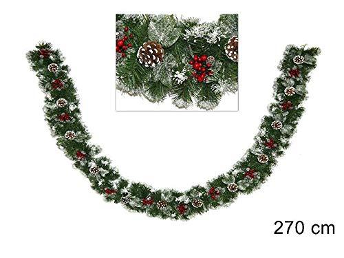 Vetrineinrete® festone natalizio innevato con bacche e pigne 270 cm 30 cm largo ghirlanda natalizia artificiale di natale 150 rami con neve pino abete decorazioni e addobbi natalizi 91873