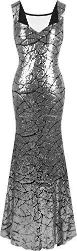 Angel-fashions Damen Queen Anne Ausschnitt Pailletten Meerjungfrau Lange Party Kleid Small Silber