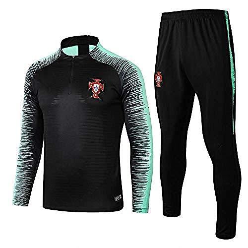 Portugal Team Langarm Trainingsanzüge Heimteam Uniformen Fußball Uniformen Half Zipper Sweater Warm-Up Suit@Photo_Color_M