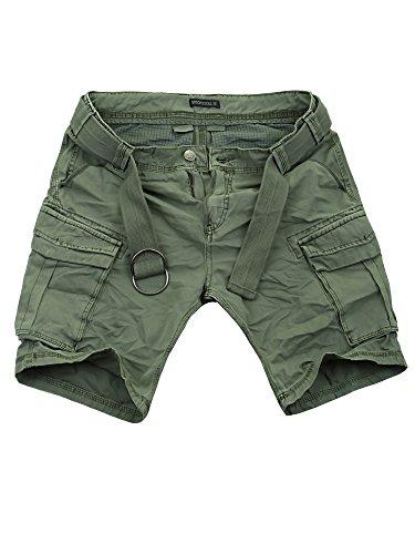 Sublevel Cargo Shorts Herren kurze Hose Cargohose Bermuda Sommer Jeans (Middle Green - H-61740, W30)