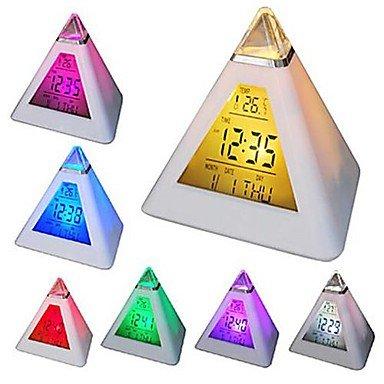 ZMW 7 conduit couleurs changeantes pyramide en forme numérique réveil calendrier thermomètre veilleuse