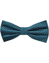 Pre tied bow tie - Orange base tightly packed with white pin dots Notch 8ElYzMNJAC