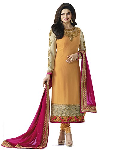 Priyavadhu Women\'s Georgette Embroidered Semi Stitched Dress Material(Yellow_Free Size_SBQN5644)