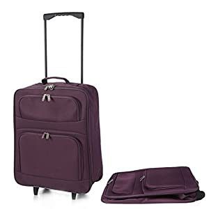 5 Cities Foldaway Lightweight Hand Luggage Suitcase, 55 cm, 39 Liters, Purple by 5 Cities
