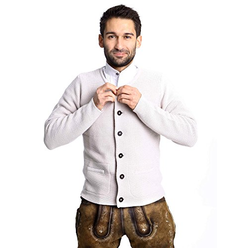 ALMBOCK Herren Strickjacke | Cardigan für Männer in natur grau | Trachten Strickjacke | Größen S, M, L, XL, XXL, XXXL - 4