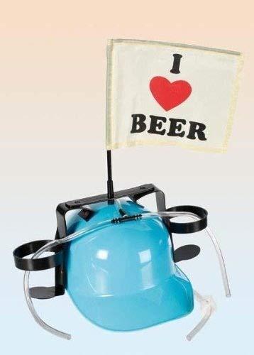 Trinkhelm Bierhelm Saufhelm I love Beer Fahne für Party