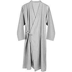 Unisxe Peignoir de Bain Kimono Japonais en Pur Coton Double Femme Homme Chemise de Nuit Lâche Ruban Poncho Plage Piscine Vêtement de Sauna Hydrothérapie Combinaison de Robe,Gris Clair,L