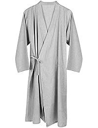 4ca92c17bd Unisexe Peignoir de Bain Kimono Japonais en Coton Robe de Chambre Lâche  Ruban Chemise de Nuit