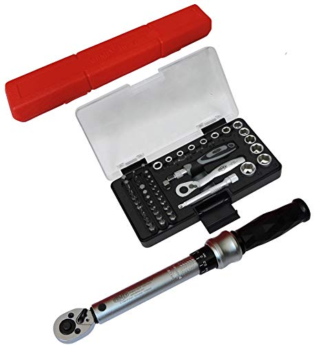FAMEX 10872+594 Drehmomentschlüssel 6-30 Nm - Fahrrad Werkzeugset - mit Steckschlüssel Bit Satz 47-tlg