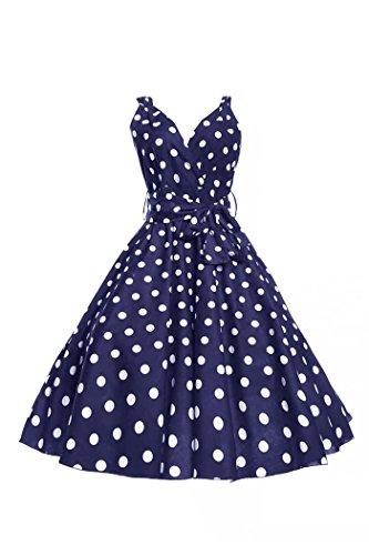 Femmes Rétro Vinatge Années 1950 Rockabilly Fête Swing Bal De Promo Marilyn Robe À Pois Taille 10 - 18 Bleu Marine