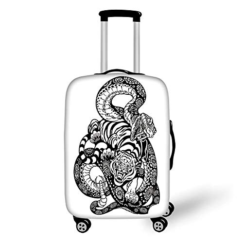 Travel Luggage Cover Suitcase Protector,Tiger,Tattoo Style Scene of Two Animals Fighting Long Snake with Sublime Large Cat Battle,Black White,for Travel,M - Fighting Tigers Cover