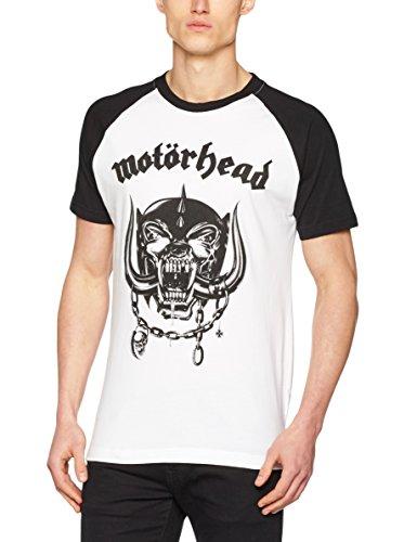 Kurzarm Raglan T-shirt (MERCHCODE Jungen Motörhead Everything Louder Raglan Tee 1012_t-Shirt Kurzarm, Wht/Blk, L)