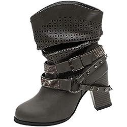 LuckyGirls Botas Moteras de Media Caña Botitas Rhinestones Heuco Zapatillas Casual Moda Cómodas Calzado Bambas Zapatos de Tacón para Mujer 8cm