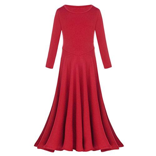 rgisches Lob Kleid Kinder Tanzkleid mit Langarm Ballettkleid Partykleid Gebet Kleid Falten Maxikleid Party Anbetung Kostüme Rot 5-6 Jahre (Falten Kostüme)
