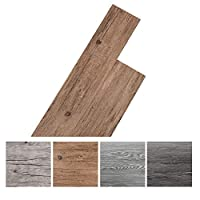 INMOZATA 36Pcs Self-Adhesive PVC Flooring Planks Floorboard Planks Waterproof Floor Wall Stickers for Kitchen Bathroom Home Floor Tile