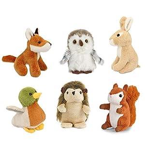 Living Nature Nature-AMZ05WL Miniature Buddies Soft Toys, Pack de 6 Animales, Multicolor (Keycraft AMZ05WL