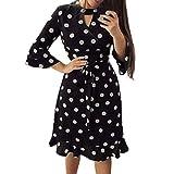 Bluestercool Robe Retro Tunique Col en V Femme Vintage Manches 3/4 Loose Robes Polka Dot Dress Ladies Mode Casual Chic Mini Dress Bandage Robe de Soirée, Noir