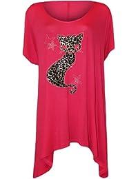 WearAll - T-Shirt Top Longue Ourlet Mouchoir Imprimé Chat en Clouté á Manches Courts - Hauts - Femmes - Tailles 42-56