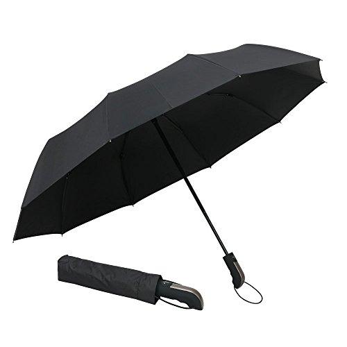 Ewolee Winddicht Regenschirm Outdoor Regenschirm mit einhändiger Auf-Zu-Automatik Schirmdurch aus robusten 210T Stoff transportabel Stockschirme für regen oder Sonnenschein(schwarz)