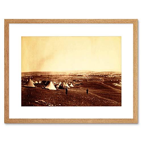 VINTAGE WAR CRIMEAN UK CATHCART HILL SEVASTOPOL CAMP TENT FRAMED PRINT B12X3555