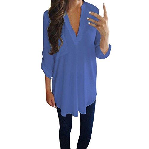 Blusen Damen Lässig Chiffon Shirt Hemd Sexy Pullover Langarm V-Ausschnitt T-Shirt Frauen Bluse Oberseiten Streetwear Sweatshirt,ABsoar -