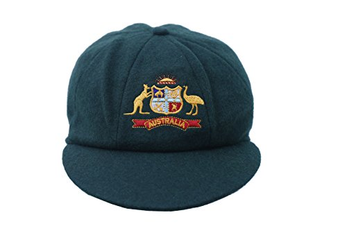 CLASSICAL TRADITIONAL MELTON WOOL GREEN AUSTRALIA CAP WITH TEST LOGO SMALL  PEAK BAGGY STYLE by Adam bcd247e7be3