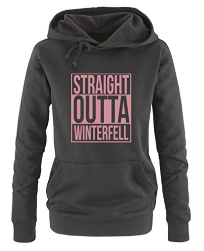 Thrones-tattoos Game Of (Comedy Shirts - Straight outta Winterfell - Game of Thrones - Damen Hoodie - Schwarz / Rosa Gr. XL)