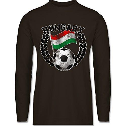 EM 2016 - Frankreich - Hungary Flagge & Fußball Vintage - Longsleeve /  langärmeliges T-
