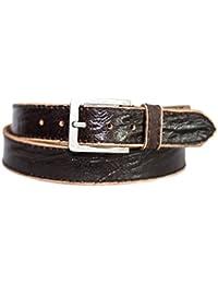 4fe49586f9941b Eg-Fashion Herren Jeans-Gürtel 4 cm breiter Büffelleder-Gürtel mit  schwarzer Naht