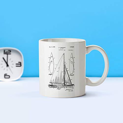 ZonaloDutt Segelboot Patent Becher Kaffeebecher Kaffeeliebhaber Patent Kunst Patent Becher nautischen Dekor Segeln DecorSailing CollectibleSailing GiftM85 SP1003
